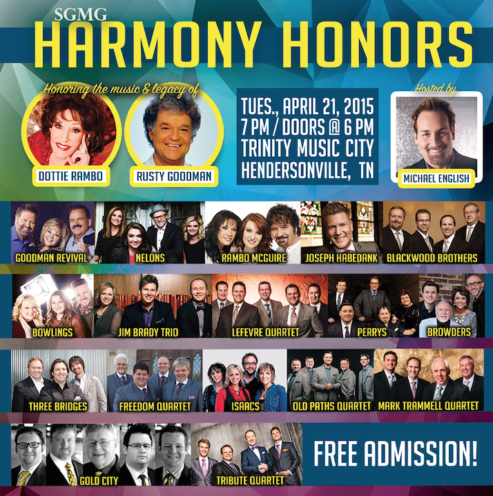 SGMG TO PRESENT 2015 HARMONY HONORS APRIL 21 AT TBN'S TRINITY MUSIC CITY