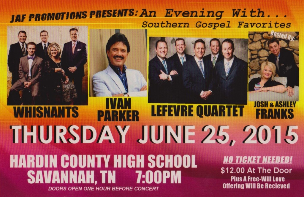 An evening with Southern Gospel favorites will be held on Thursday June 25