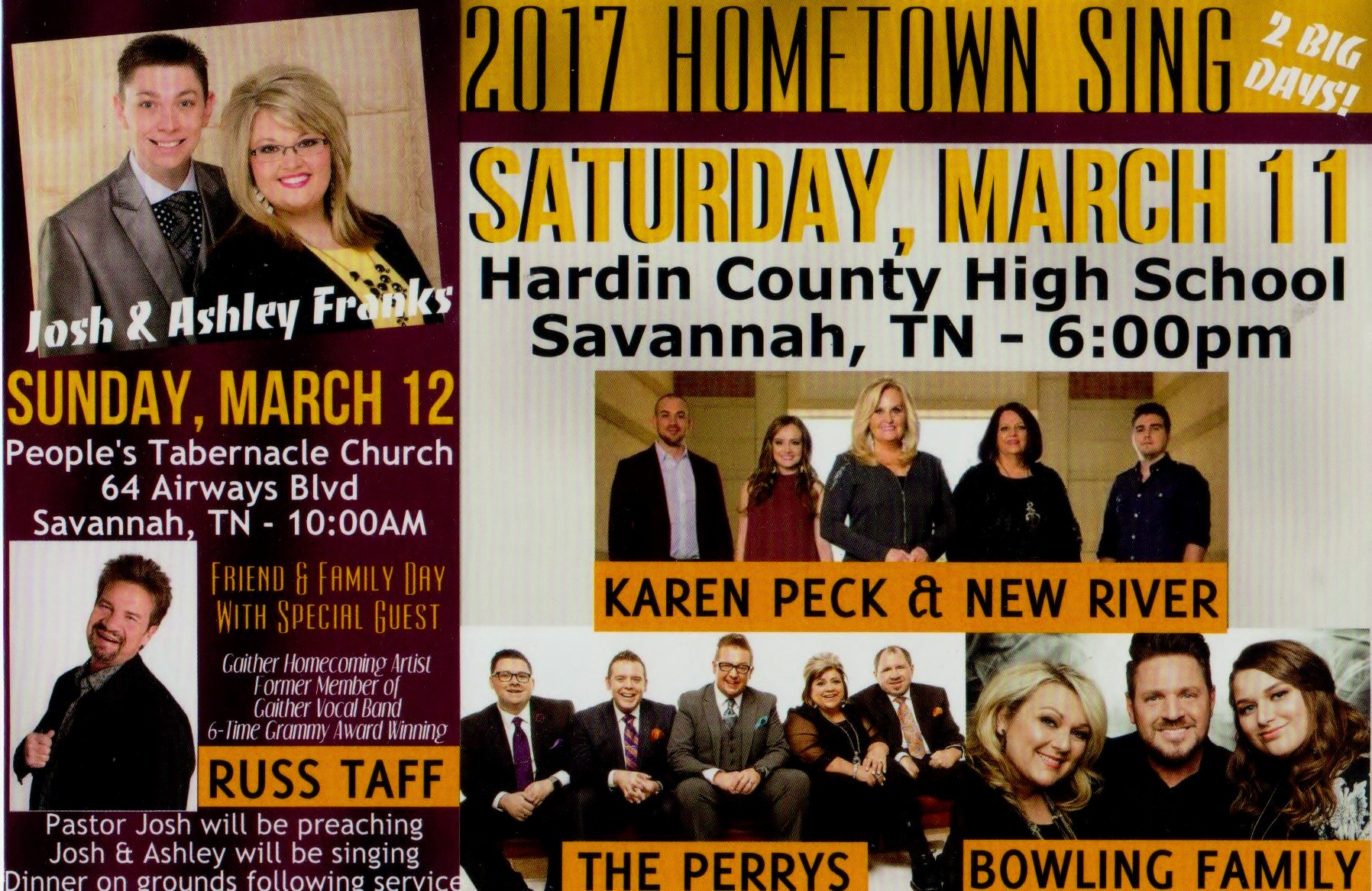 HOMETOWN SING March 12th