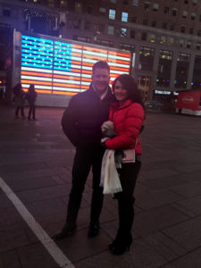 Joseph Habedank and Lindsay sneak in a few moments among the hustle and bustle of NYC in Times Square.