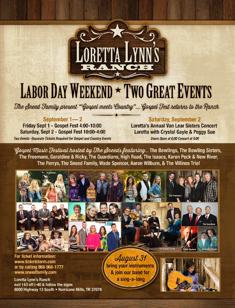 "Gospel Music Festival at Loretta Lynn Ranch Announces ""Sing-a-long"" August 31, 2017"