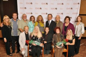 The Southern Gospel Music Guild honored the lifetime achievements of Judy Nelon and Lou Hildreth, with Beckie Simmons positioned on left in black.