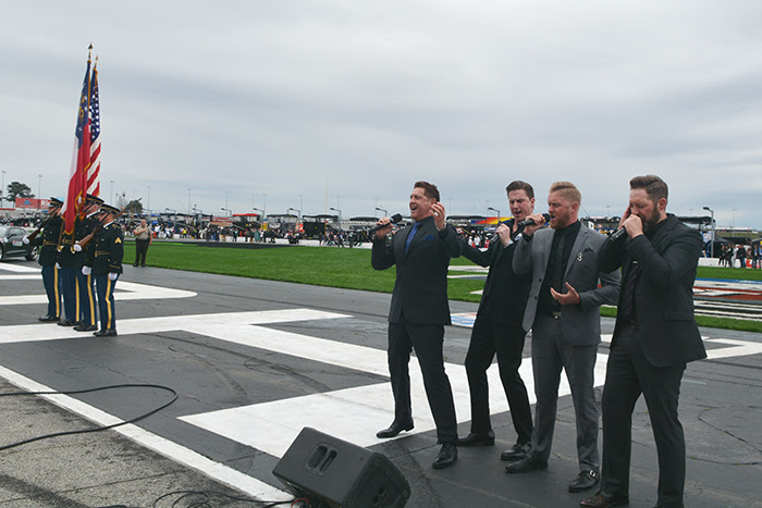 Ernie Haase & Signature Sound perform the National Anthem during the NASCAR Folds of Honor QuikTrip 500 held at the Atlanta Motor Speedway on Sunday, February 25, 2018. Photo courtesy Conduit Media