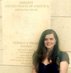 The Hagees' Sandra Parker at the U.S. Embassy in Jerusalem