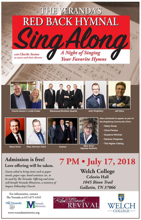 """""""The Veranda's Red Back Hymnal Sing Along"""" to be held July 17 at Welch College"""