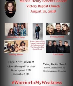 Benefit Concert Planned for Marcia Henry  August 10, 2018