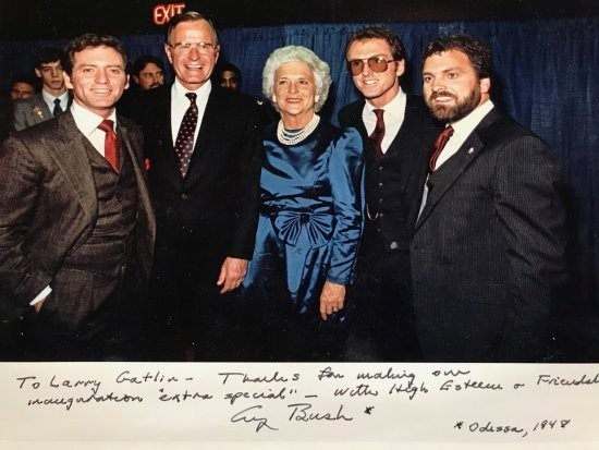 The Gatlin Brothers with George H.W. Bush and Barbara Bush at the former president's inauguration (1989) (Pictured left to right: Larry Gatlin, George H.W. Bush, Barbara Bush, Rudy Gatlin, Steve Gatlin)