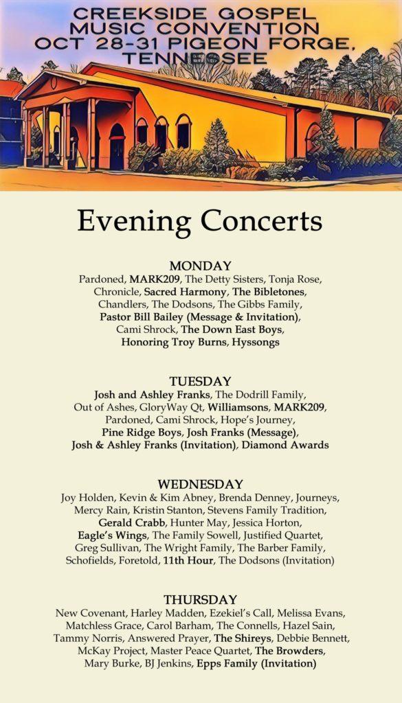 Creekside 2019 evening schedule