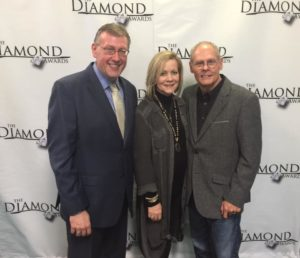 Rob Patz with Debi Crabb and Gerald Crabb at Diamond Awards 2019
