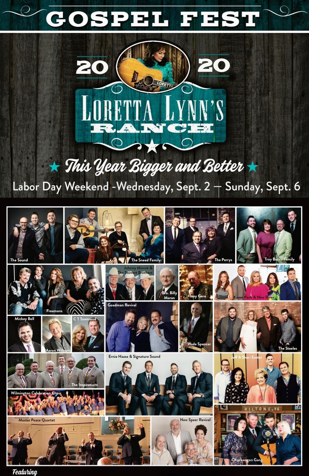 Gospel Music Festival at Loretta Lynn's Ranch Expands for 2020 Labor Day Weekend September 2 - September 6, 2020