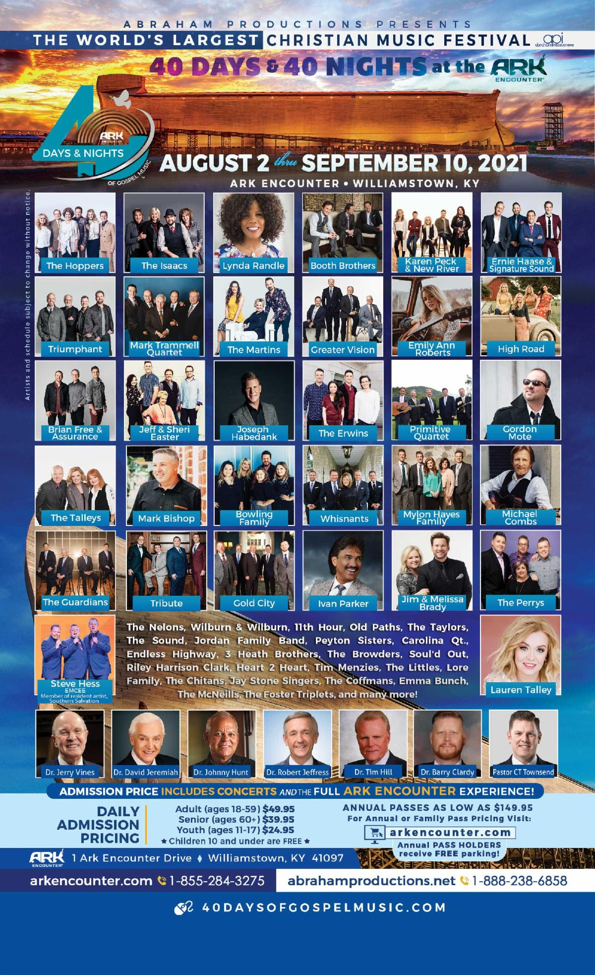 The Ark Encounter and Abraham Productions Announce The World's Largest Christian Music Festival